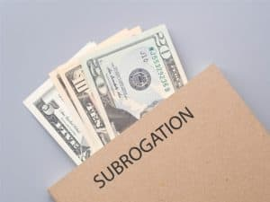 Subrogation showing money on the file.