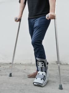 A man with an injured foot after a motorcycle accident in Virginia.