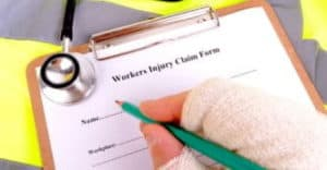Paperwork for Charlottesville workers' comp claim.